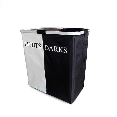 MTBHW Lights Darks Cesta De Almacenamiento De Luz De Aluminio Plegable De Doble Cesto Blanco Y