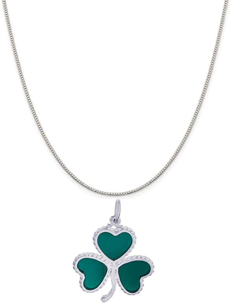 Rembrandt Charms Sterling Silver Shamrock Charm on a 16 18 or 20 inch Rope Box or Curb Chain Necklace