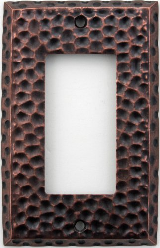 Hammered Single - Classic Accents Hammered Antique Copper Wall Plate - Single Gfi/Rocker Opening