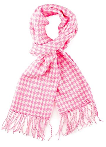100% Cashmere Wool Scarf Houndstooth Design Made in Germany (Hot Pink) (Check Houndstooth Pink)