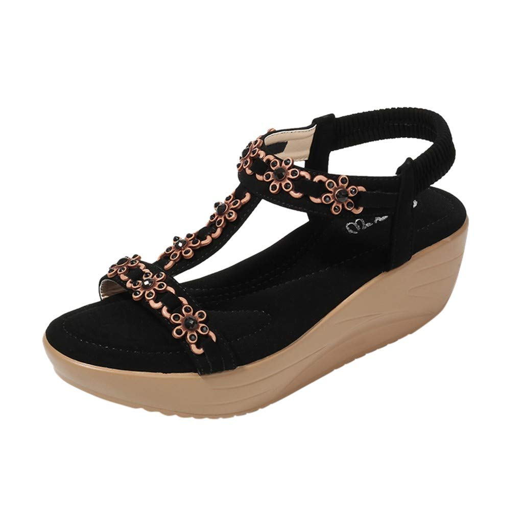 ✔ Hypothesis_X ☎ Womens Wedges Sandals, Bohemian Pearl Crystal Flat Sandals,Flip Flop Casual Shoes Black
