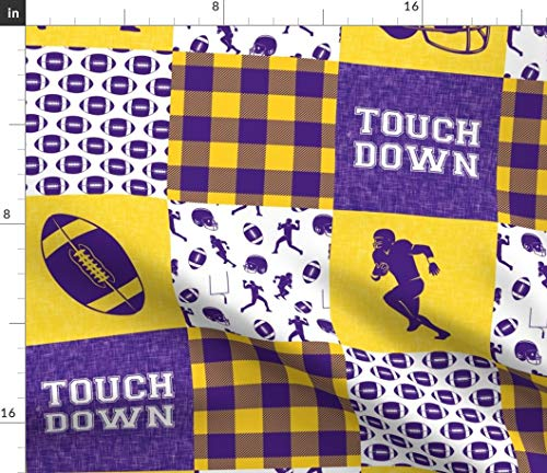 Spoonflower Touch Down Fabric - Cheater Quilt Touch Down Football College Purple and Gold College Football Patchwork Cheater by Littlearrowdesign Printed on Petal Signature Cotton Fabric by The Yard