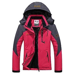 AbelWay Women's Outdoor Mountain Waterproof Windproof Fleece Ski Hooded Jacket Rain Coat Off White