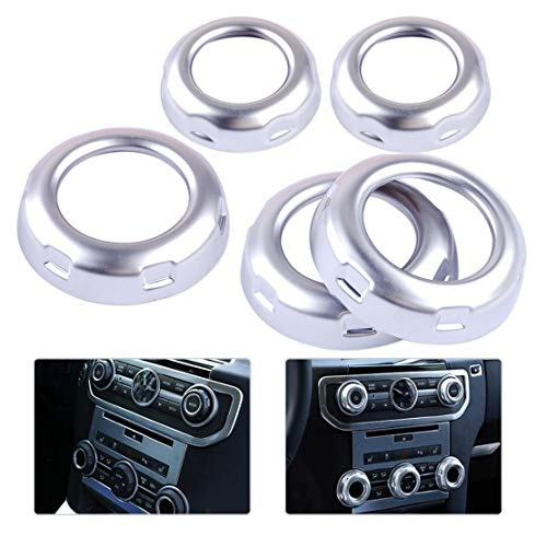Cacys-Store - 5Pcs Car Styling Chrome Dashboard Console Switch Button Ring Cover Trim fit for Land Rover Discovery 4 Range Rover Sport