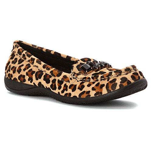 Vionic–encanto del Pacífico Orthaheel Moc Toe zapatos de Mocasines. Bronceado Leopardo