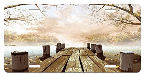 zaeshe3536658 Autumn License Plate, Old Wooden Jetty on a Lake with Fallen Leaves and Foggy Forest in Distance, High Gloss Aluminum Novelty Plate, 6 X 12 Inches, Pale Brown Green Tan by zaeshe3536658