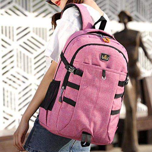 Backpack Pink Zip Hlhn Large Student Business Rucksack Shoulder Hiking School Women Bags Computer Men Travel Unisex 44wBEZ