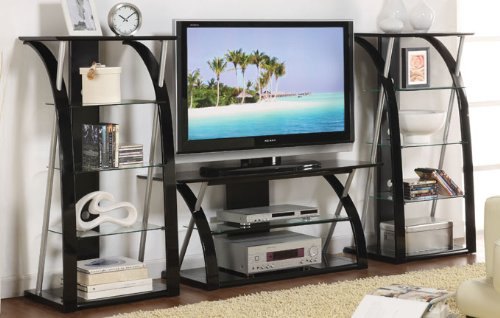 Entertainment Center Tv Stand and 2 Shelves with 5mm Tempered Glass with Black Top #PD F41496,f41497 ()