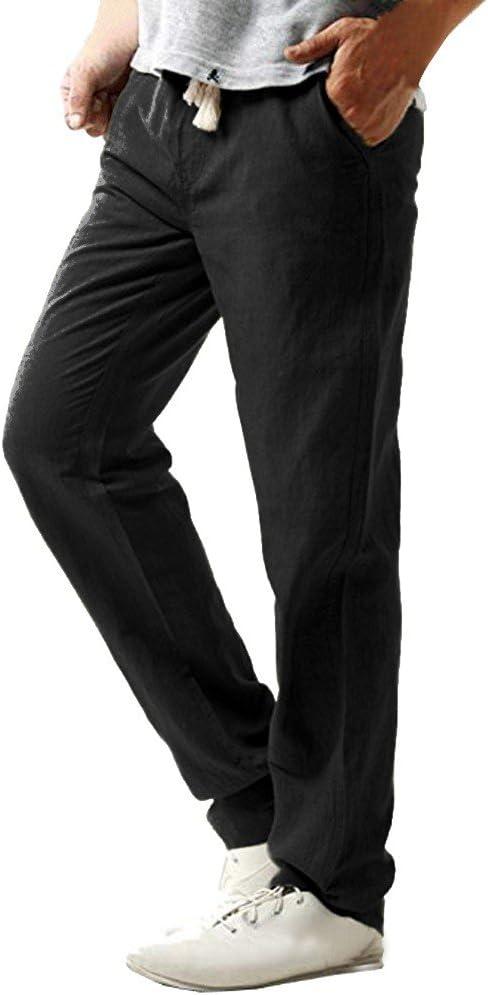 Overdose Pantalón De Lino Delgado Casual para Hombre Pantalones De ...