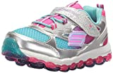 Skechers Kids Girls' Skech-Air Ultra-Bity Bubbles Running Shoe,Silver/Pink/Blue,5 M US Toddler