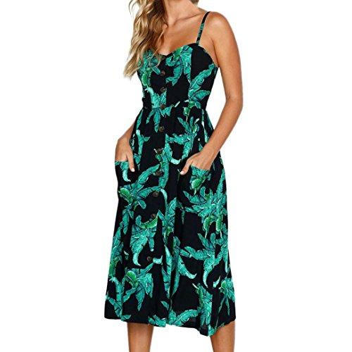 Vestidos Mujer Casual,Mujeres Vacaciones Rayas Damas Verano Playa Botones Vestido de Fiesta LMMVP A