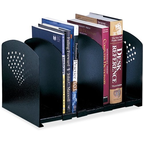 Safco 5 Section Adjustable Book Rack - 9.25quot; x 15.5quot; x 9quot; - Steel - Black by Safco