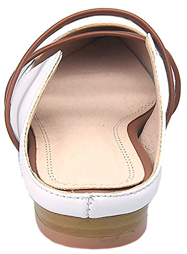 Caller Mujeres Canone Con Punta En Punta 1.7cm Block Heel Slip-on Mule Zapatos Blanco