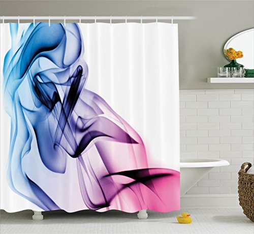 Ambesonne Abstract Home Decor Shower Curtain Set, Abstract Artwork With Colorful Smoke Dynamic Flow Swirl Contemporary Home Art, Bathroom Accessories, 69W X 70L Inches, Fuchsia Blue