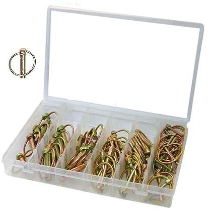come scegliere comprare popolare acquista originale Assortimento spine a scatto/coppiglie ad anello/perni/spinotto 50 pezzi in  valigetta