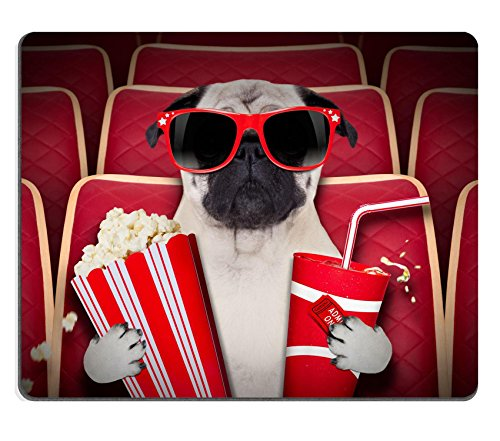 Liili Mouse Pad Natural Rubber Mousepad IMAGE ID 33657235 dog watching a movie in a cinema theater with soda and popcorn wearing glasses (Soda Boxers compare prices)