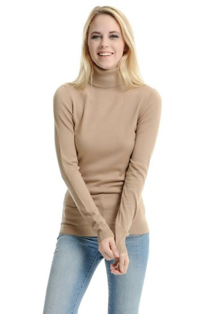 LADIES/WOMEN'S STRETCHY ROLL-NECK LONG-SLEEVE COTTON PLAIN TOPS 2216