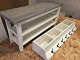Hallway/Mud Room/Foyer Bench (42″) With Second Shoe Shelf and Matching Coat Rack/Cubbie