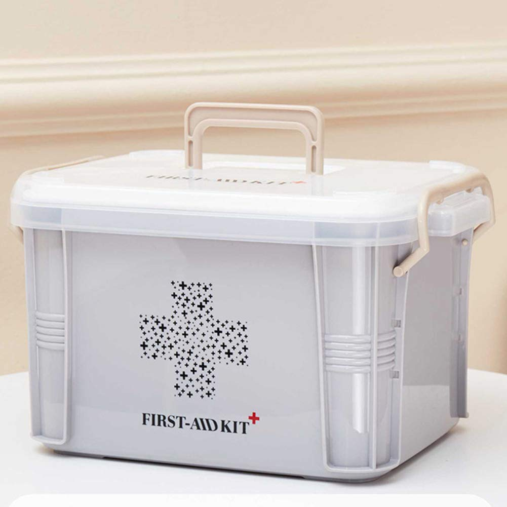 Portable Household Medicine Storage Box, Double Layer First Aid Container Box Reverse Buckle Design Large Capacity Medicine Storage Organizer, 33.523.520cm(Grey)