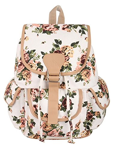 a4bb114cd0 Crafts My Dream Women s Backpack Handbags Beige Rose Print Cmd176   Amazon.in  Shoes   Handbags