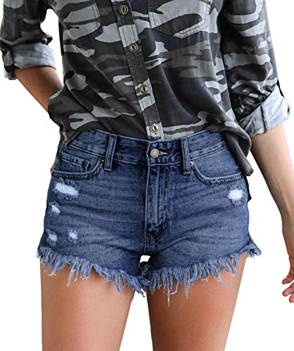 Luodemiss Women's High Waist Casual Distressed Tassel Denim Shorts High-Rise Junior Retro Jeans Ripped Shorts,4/6=Tag Size M Washed Dark ()