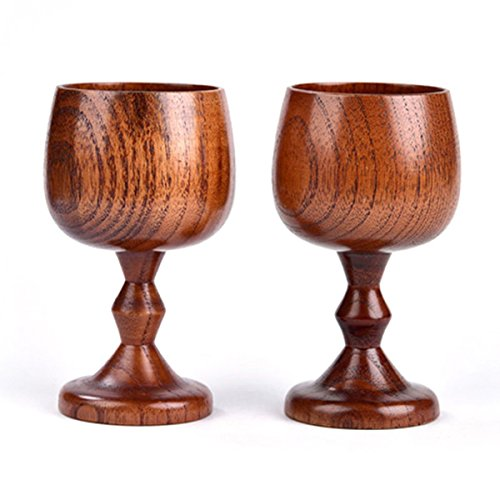 Tacoli- 200ml Natural Solid Wood Cup Classic Wooden Wine Cup Vintage Goblet Chalice Hand-Made Wood Drinking Dining Cup Drinkware Gift by Tacoli (Image #6)