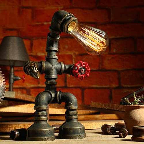 Water Pipes Assassin Robot Table Lamp Eye Protection Loft Decoration Light for Desk Industrial Retro Dimmer Switch Desktop Light Gift Creative Iron Reading Lamp For Bedroom Study Coffee
