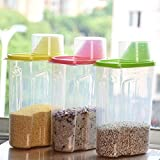 Woogor (Set Of 3) 1.8L Plastic Food Grain Candy Storage Box Containers Plastic Kitchen Food Cereal Storage Dispenser Rice Container
