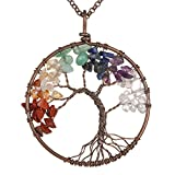 Gemstone Necklace Pendant Tree of Life , BRCbeads Crystal Healing Point Reki Chakra Unisex with Chain 20 Inch