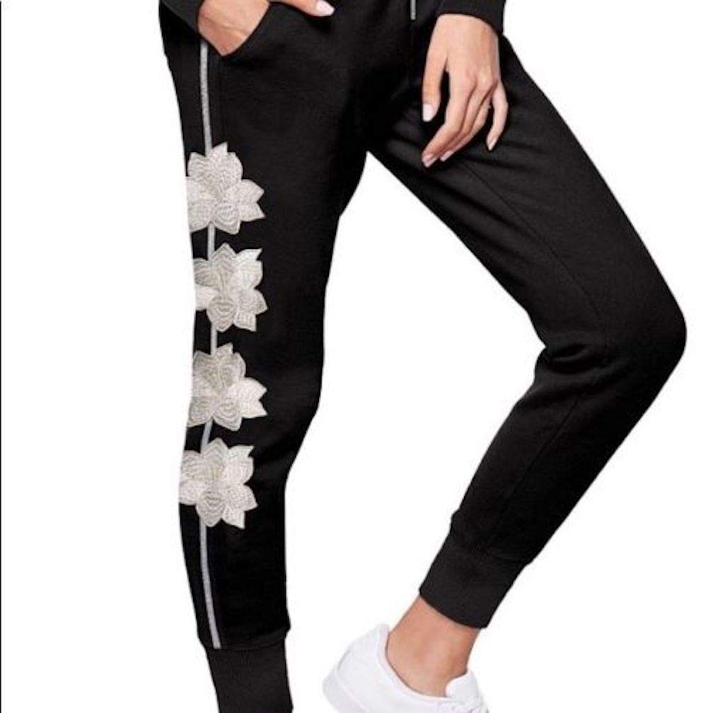 61ff3a129e2fb Victoria's Secret Pink Skinny Joggers White Floral Embroidery Black Pants,  Small at Amazon Women's Clothing store:
