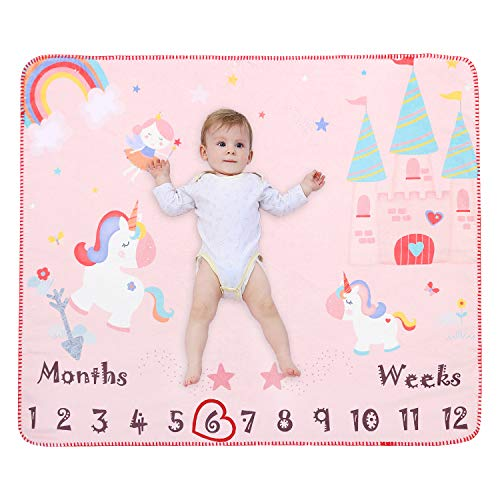Unicorn Baby Monthly Milestone Blanket | Flannel Fleece Plush Newborn Infant Photo Blanket for Pictures Photography | Baby Shower Gifts for Newborn Boys & Girls New Mom Gifts (Pink, 39x 47)