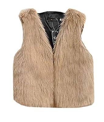 BYWX Women Warm Winter Fleece Cardigan Outwear Faux Fur
