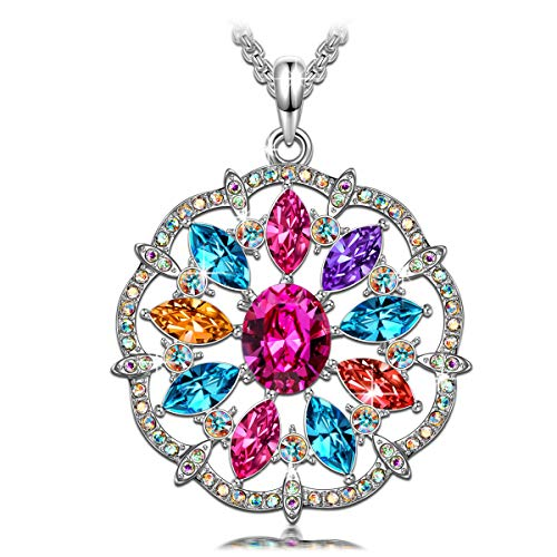 QIANSE Necklaces for Women Love in Curacao Multicoloured Round Necklace Swarovski Crystals Jewelry for Women Pendant Necklaces for Women Teen Girls Birthday Gifts for Girlfriend Wife Mom