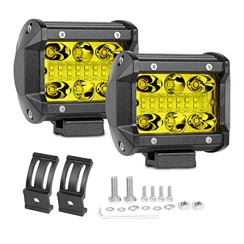 Amber LED Pods Swatow Industries 2PCS 120W 3000K 4 Inch LED Light Bar Yellow LED Fog Lights Offroad Spot Flood Combo Driving Lights Square Work Lights for Truck Jeep ATV UTV Tractor Boat Waterproof