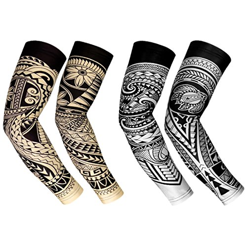 RoryTory Cooling Arm Elbow Compression Sleeve Sun Guard Tattoo Sleeves Cover Up - for Outdoor Cycling Golfing Basketball Baseball Tennis Soccer Lymphedema - 2 Pairs Beige/Gray Tribal, Medium