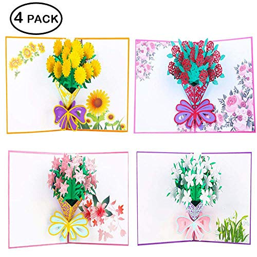 Flower 3D Pop up Greeting Cards with Envelope Sticker - Guaduation Card Gift Handmade Lilie, Roses, Sunflowers, for Back to School Teacher Appreciation Gifts, Birthday, Wedding, Thank You, Anniversary for $<!--$17.99-->
