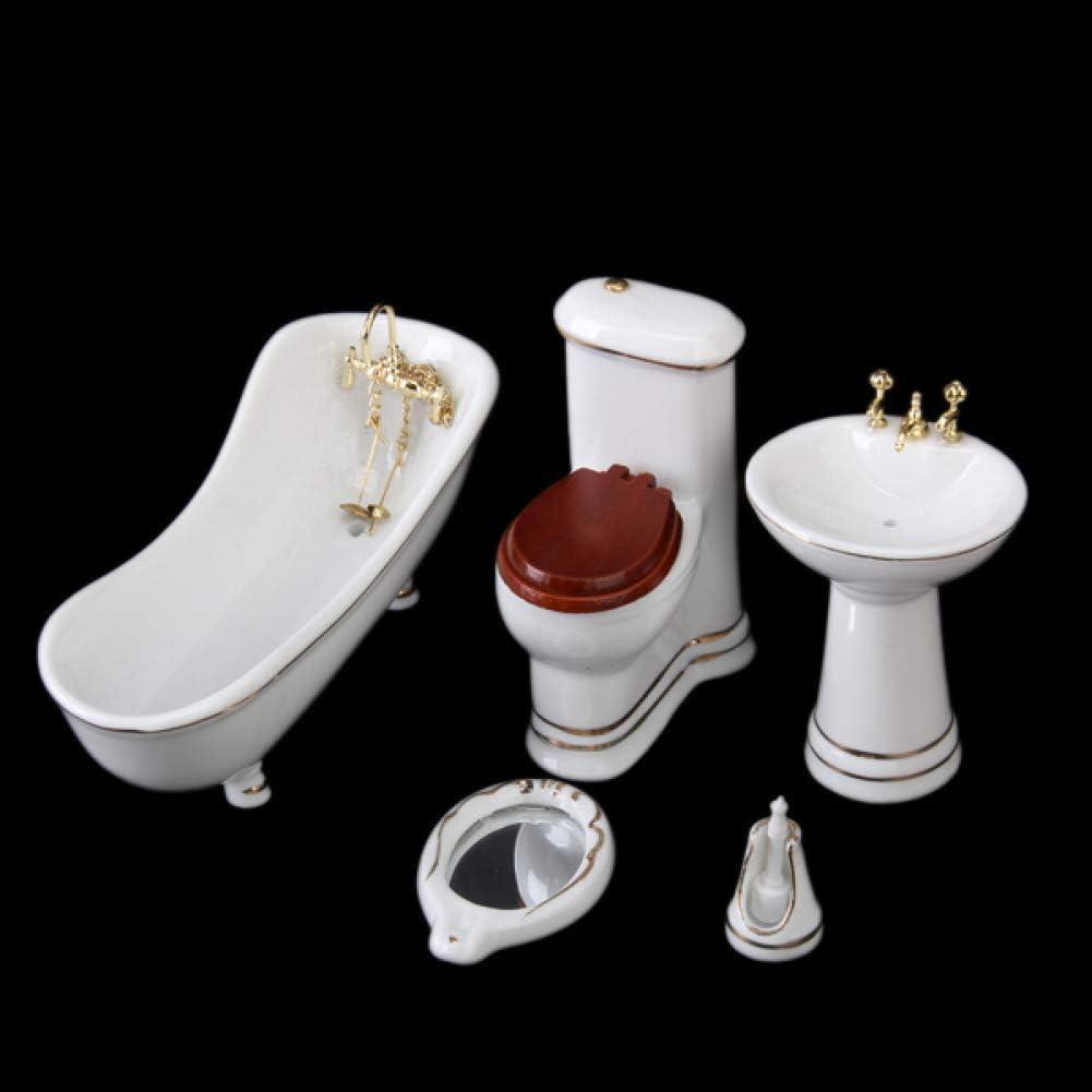 hou zhi liang 01.12 Puppenhaus Badezimmer-m/öbel Mini-Keramik-badewanne Wc Modell Miniatur-Spielzeug Puppenzubeh/ör Kinderspiel Spielzeug 5pcs
