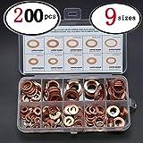200pcs 9 Sizes Solid Copper Metric Sealing Washers M5-M14 Flat Ring Sump Plug Oil Seal Assorted Kit Assortment Set Box