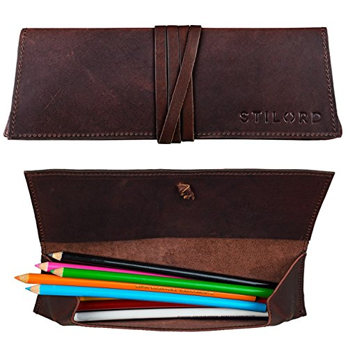 STILORD Vintage Estuche kit de lápices Funda bolígrafos escuela, Funda universidad u oficina de Cuero de color marrón oscuro