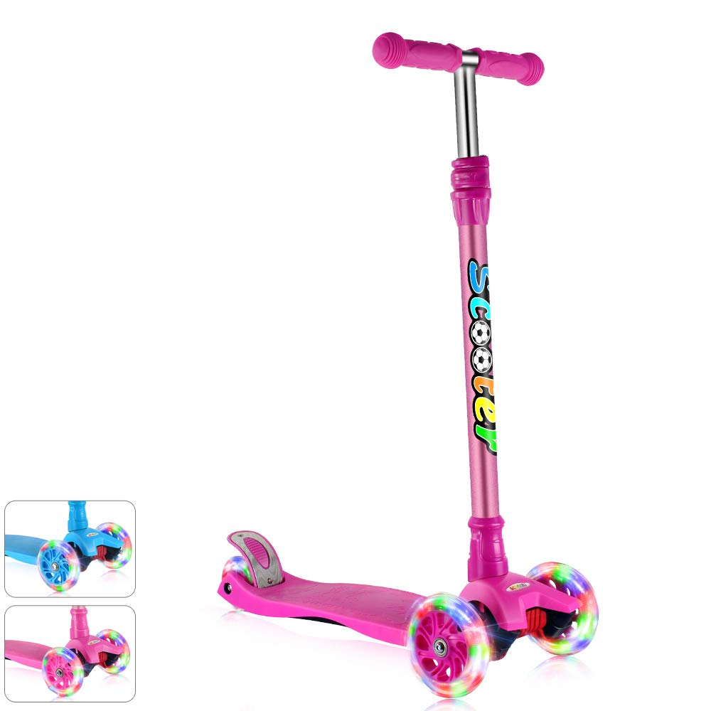 GOOGO Kick Scooter for Kids & Toddlers Girls or Boys, 4 Adjustable Height, Extra-Wide Deck, Lean to Steer with PU Light Up Wheels for Children from 3 to 14 Year Old, Purple