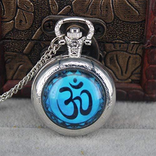 Vintage azul Yoga hecho a mano reloj de bolsillo collar Om ...