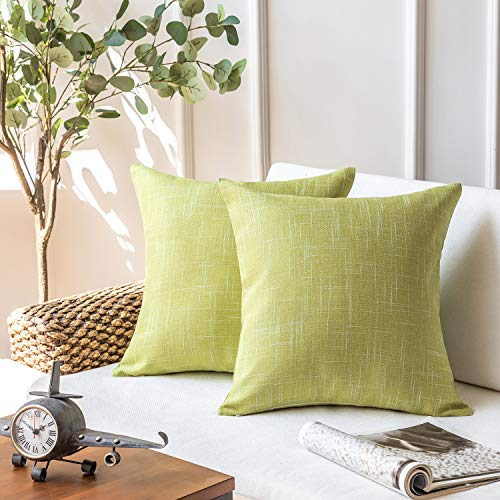 Phantoscope Set of 2 Soft Textured Lined Linen Burlap Throw Pillow Cushion Cover Yellow Green 18 x 18 inches 45 x 45 cm (And Cushions Yellow Green)