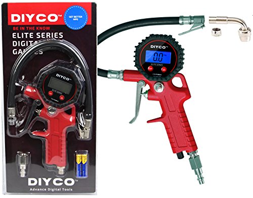 DIYCO D2 | Digital Tire Inflator with Pressure Gauge | Lock-on Air Chuck | 90 Right Angle Valve Extension | For Motorcycle Car TPMS Suv Truck Rv Bike - Design in USA Economy Motor Support