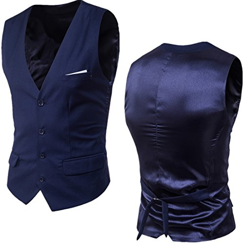 Dark 3 Colori Aderente Sunshey Completo Blue Uomo Con In 9 Bottone Pezzi Vestibilità Da 1 qOpqP