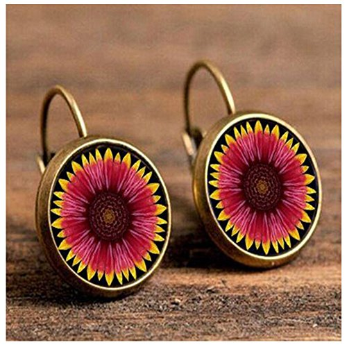 Elakaka Women's Retro Luxury Exquisite Time Gem Flowers Earrings (Golden)