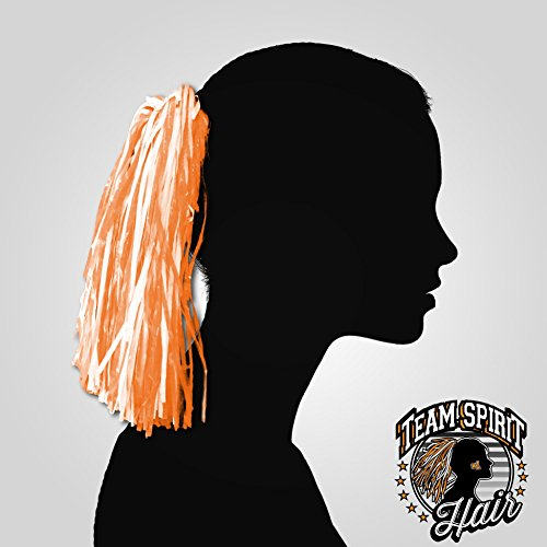 Team Spirit Hair Pom Pom (Orange and White)]()