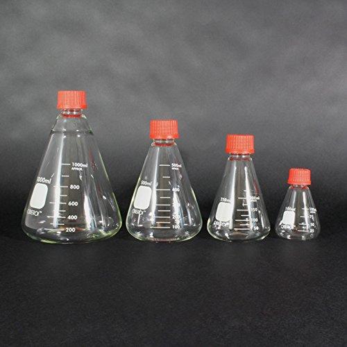Erlenmeyer Flasks with Screw Caps Set, 1000 mL, 500mL, 250 mL, 100 mL, Graduated Borosilicate 3.3 Glass by Oberoi Laborglas (Image #5)