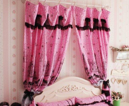Cliab Pink Paris Curtains Eiffel Tower Curtians Size Optional ...