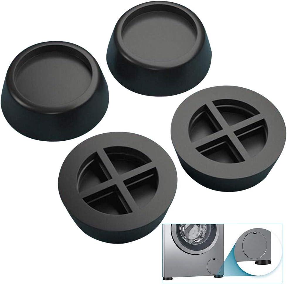 Goma Antivibracion Patas Para Lavadora, 4 Piezas de Almohadillas Universales de Vibraciones para Lavadora y Secadora Negro