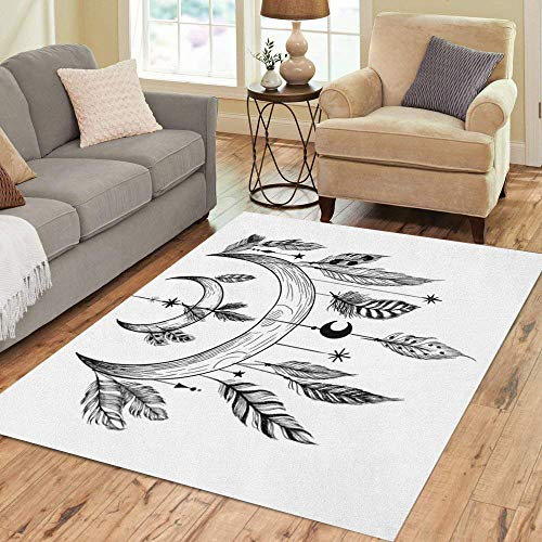 Semtomn Area Rug 3' X 5' Tattoo Detailed Mystical Feathers Beads Moons Stars and Crystals Home Decor Collection Floor Rugs Carpet for Living Room Bedroom Dining - Rosary Beads Tattoo